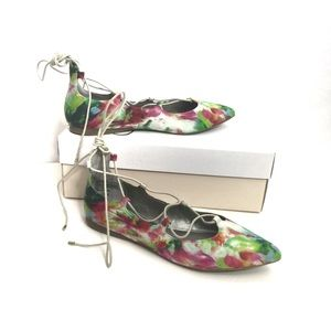 BP. Katrina Floral Lace Up Pointy Toe Flat Shoes